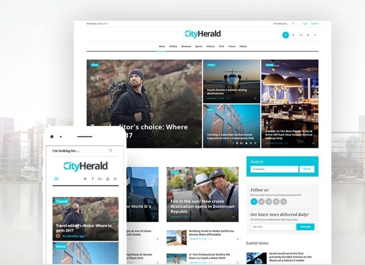 TOP 4 - WordPress shablon City Herald dlja onlajn-zhurnala pro puteshestvija