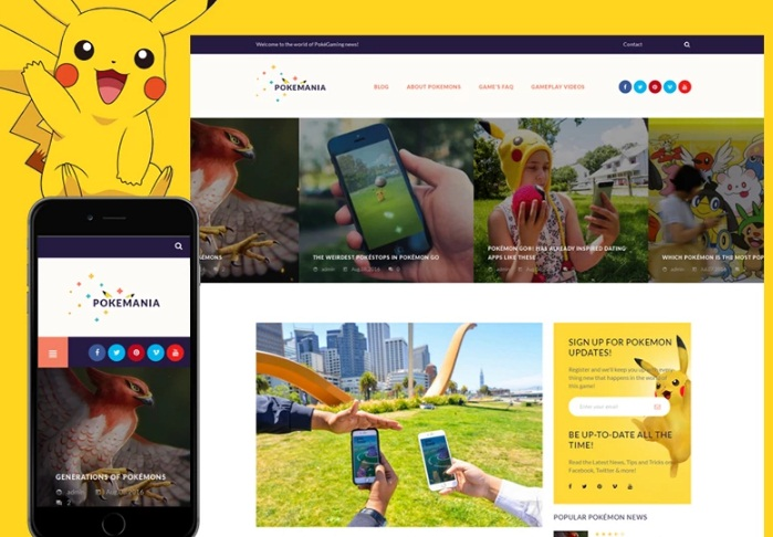 AWordPress shablon Pokemania - Game Portal Pokemon top 9