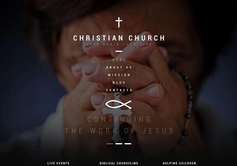 Adaptivnyj WordPress shablon №53387 na temu hristianstvo top 1
