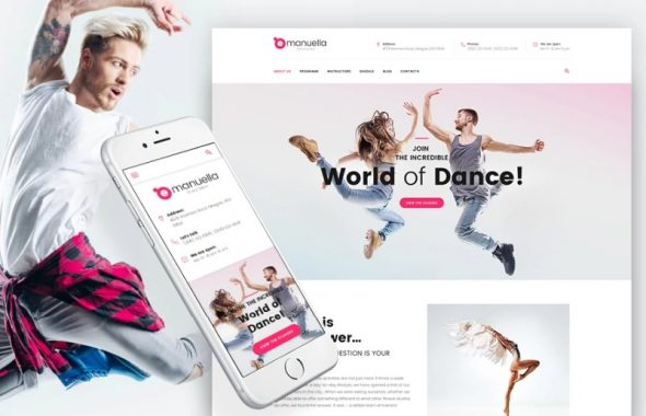 Adaptivnyj WordPress shablon №62312 na temu tanceval'naja studija
