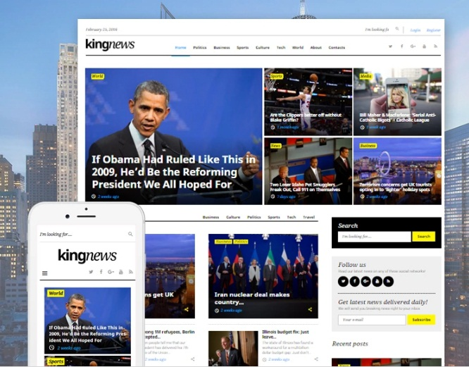 WordPress shablon KingNews - GPL shablon sportivnogo zhurnala na WordPress