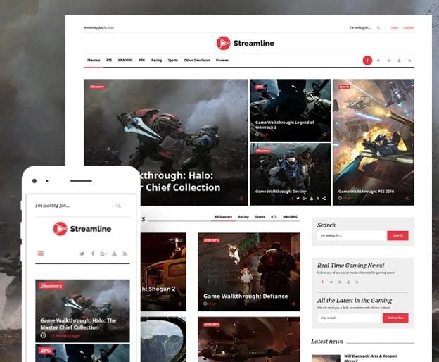 WordPress shablon Streamline dlja sajta o videoigrah
